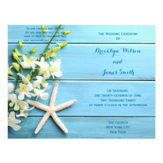 Starfish Wedding Programs Flyer With Orchids