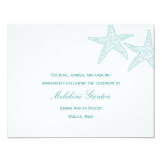Starfish Wedding Reception Card - Turquoise