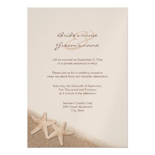 Starfish Wedding Reception Only Invitations 5 X 7 Invitation Card