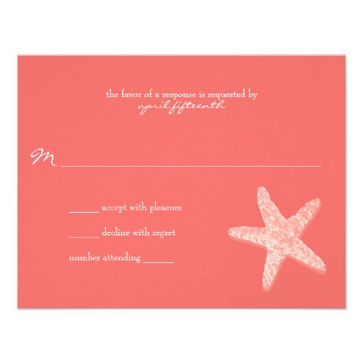 Starfish Wedding Response Personalized Invitation