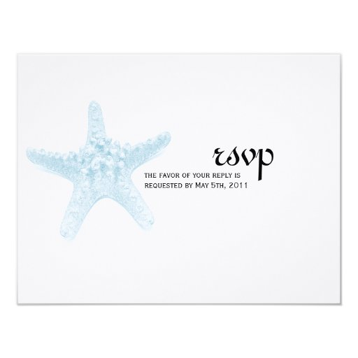 Starfish Wedding RSVP Card - Blue Personalized Invitations