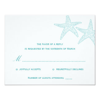 "Starfish Wedding RSVP Card - Turquoise 4.25"" X 5.5"" Invitation Card"