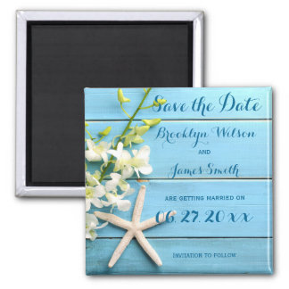 Starfish Wedding Save The Date Magnet With Orchids