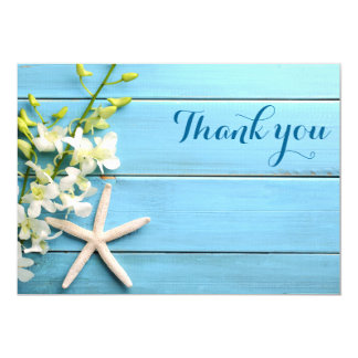 Starfish Wedding Thank You Cards With Orchid