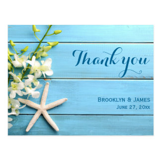 Starfish Wedding Thank You Postcards With Orchid