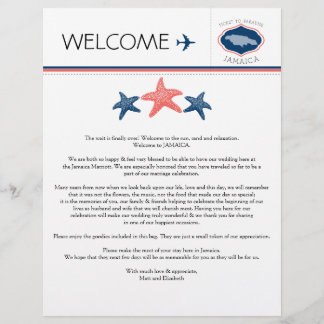 Starfish Wedding Welcome Letter for Jamaica