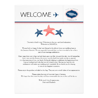 Starfish Wedding Welcome Letter for Jamaica Letterhead