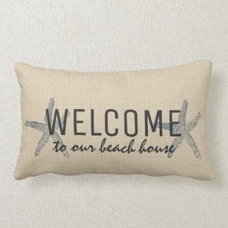 Starfish Welcome beach house Sand color burlap Lumbar Pillow