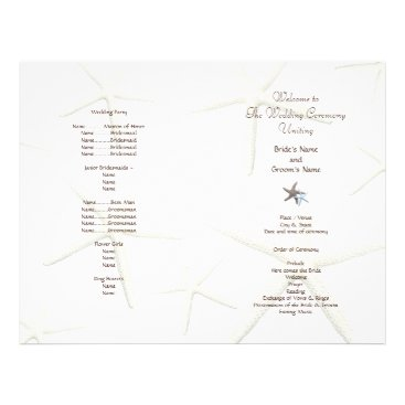 sandpiperwedding Starfish White Beach Wedding Folded Fan Program