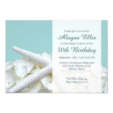 Beach Themed Starfish White Hydrangeas Birthday Party Invites