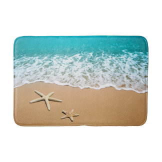 Starfish White Sand Beach Ocean Bath Mat