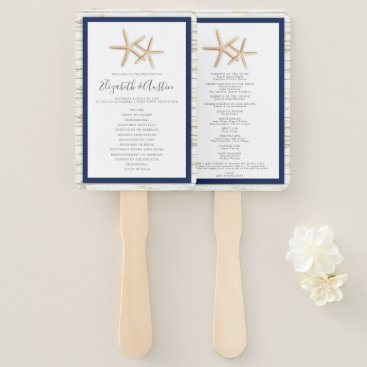 Beach Themed Starfish Whitewash Wood Beach Wedding Program Fan