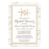 Beach bridal shower invitations announcements zazzle starfish whitewashed wood beach bridal shower filmwisefo Image collections