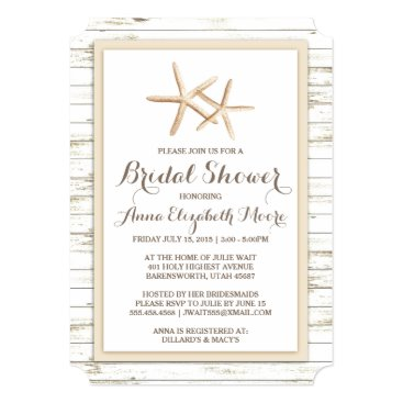 Beach Themed Starfish Whitewashed Wood Beach Bridal Shower Card