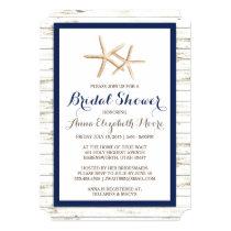 Starfish Whitewashed Wood Beach Bridal Shower Card