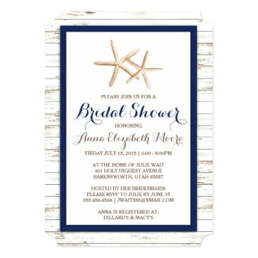 Beach Themed Starfish Whitewashed Wood Beach Bridal Shower Card