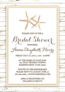 Beach bridal shower invitations zazzle starfish whitewashed wood beach bridal shower invitation filmwisefo