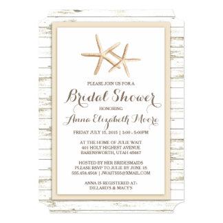Starfish Whitewashed Wood Beach Bridal Shower 5x7 Paper Invitation Card