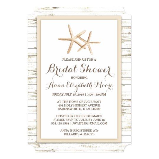 Starfish whitewashed wood beach bridal shower invitation zazzle starfish whitewashed wood beach bridal shower invitation filmwisefo
