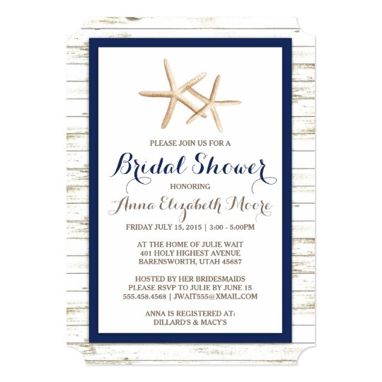2d7a49ff663af6 Starfish Whitewashed Wood Beach Bridal Shower Invitation