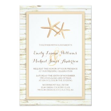 Beach Themed Starfish Whitewashed Wood Beach Wedding Invitation