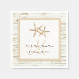 Starfish Whitewashed Wood Beach Wedding Napkin