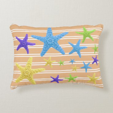 Beach Themed Starfish with Changeable Background Color Accent Pillow