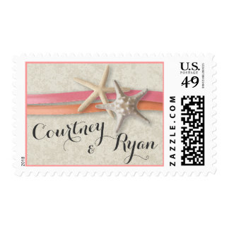 Starfish with Coral and Pink Ribbon Postage