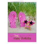 starfish with flip-flops for birthday card