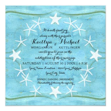 Beach Themed Starfish Wreath Ocean Beach Watercolor Blue Shells Card