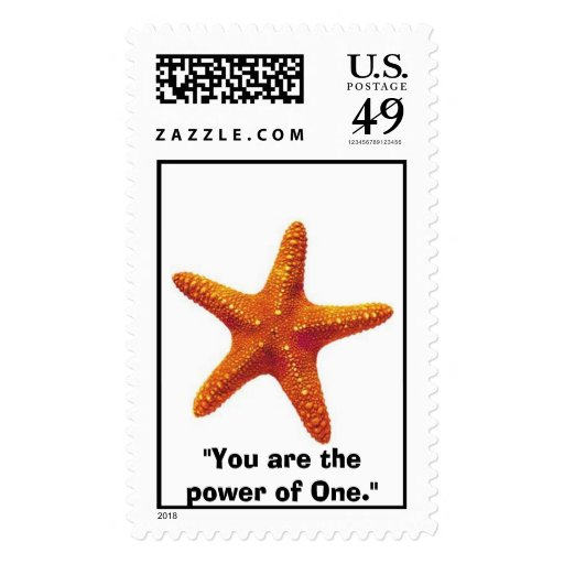 "starfish, ""You are the power of One."" Postage Stamp"