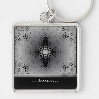 Starflake (Black on White) Keychain