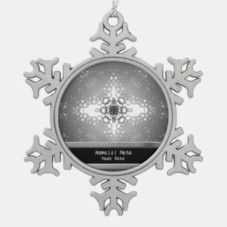 Starflake Snowflake Pewter Christmas Ornament