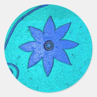 starflower blue classic round sticker
