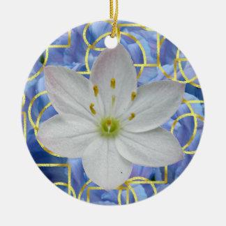 Starflower on Blue Abstract Ceramic Ornament