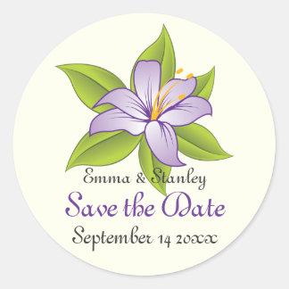 Stargazer lilac purple wedding Save the Date Classic Round Sticker