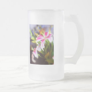stargazer lilies #5 frosted glass beer mug