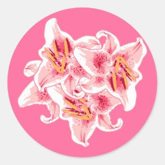 Stargazer Lilies Classic Round Sticker