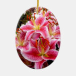 """""""Stargazer"""" Lilies Double-Sided Oval Ceramic Christmas Ornament"""