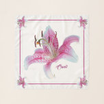 "Stargazer Lilies Square Chiffon Scarf Personalized<br><div class=""desc"">Personalized Stargazer Lilies in White,  Hibiscus Pink and Venetian Red on White Background with Very Light Mystic Blue Border Square Chiffon Scarf.  Monogrammed Name in Disco Pink.   Coordinating tote at https://www.zazzle.com/z/lgadu?rf=238126934954044669   Photographic image used released under CC0.</div>"