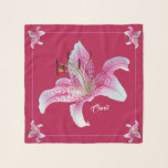 """Stargazer Lilies Square Chiffon Scarf Personalized<br><div class=""""desc"""">Personalized Stargazer Lilies in White,  Hibiscus Pink and Venetian Red on Shiraz Red  Background with Very Light Blue  Monogram.   Photographic image used released under CC0.</div>"""