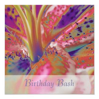 Stargazer Lily Abstract Birthday 2 Invitation