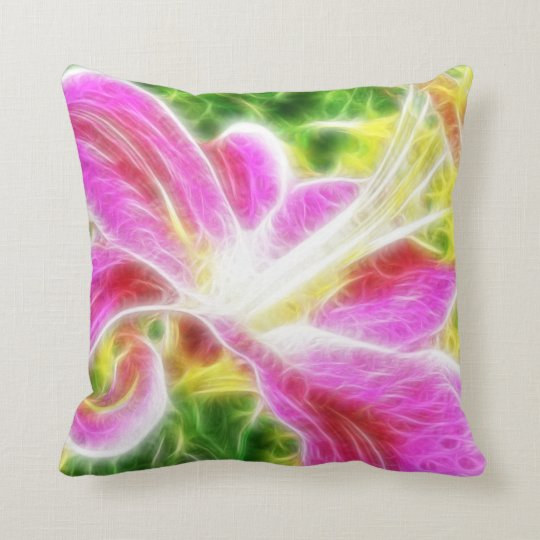 Stargazer Lily  Abstract Floral Throw Pillow