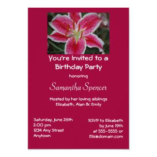 Stargazer Lily Birthday Invitation