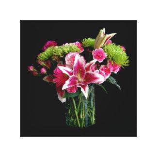Stargazer Lily Bouquet Stretched Canvas Print