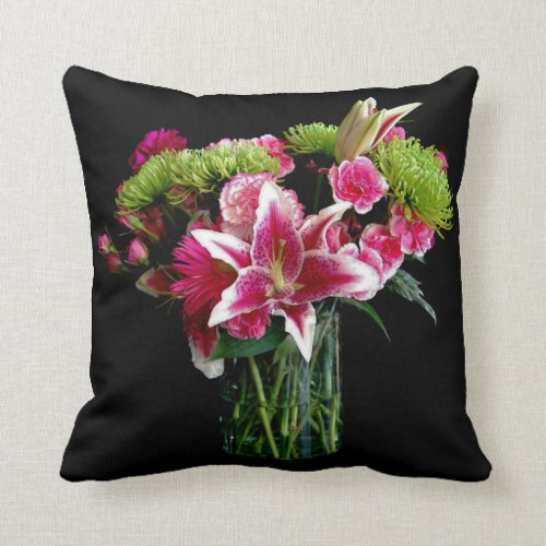 Stargazer Lily Bouquet Throw Pillow
