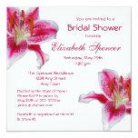 """Stargazer Lily Bridal Shower Invitation 5.25"""" Square Invitation Card"""