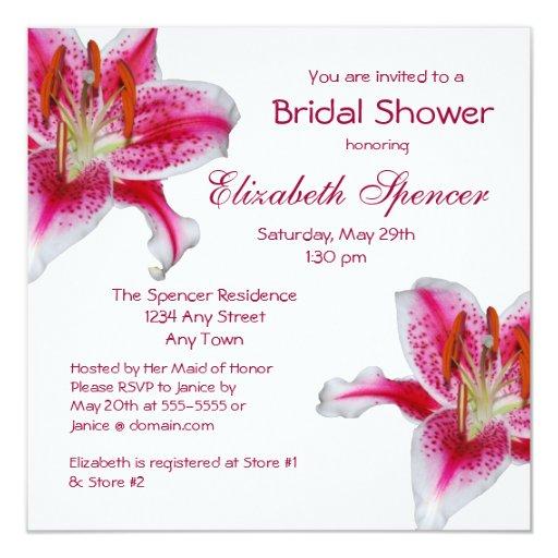 Stargazer Lily Bridal Shower Invitation Zazzle
