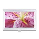 Stargazer Lily Bright Magenta Floral Business Card Case