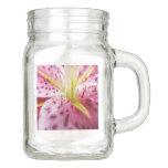 Stargazer Lily Bright Magenta Floral Mason Jar